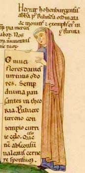 A self portrait of Herrad of Landsberg, a 12th century nun and abbess, from Hortus deliciarum, ca. 1180