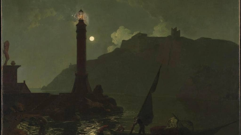 A Moonlight with a Lighthouse, Coast of Tuscany (1789) by Joseph Wright of Derby. Courtesy Tate Britain, London